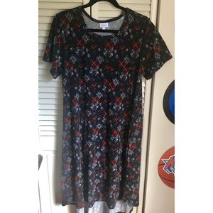 LuLaRoe Casual Dress Red Black Short Sleeve